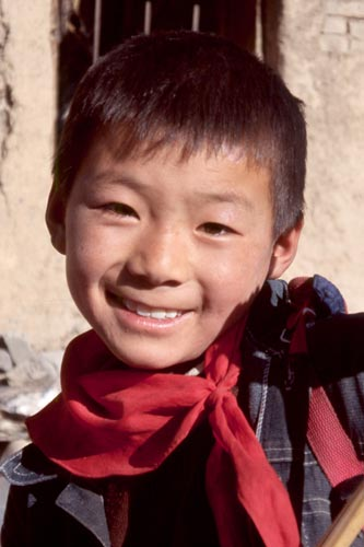 One of the friendly kids in Songgang village.